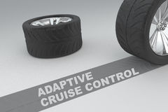 Adaptive Cruise Control concept. 3D illustration of ADAPTIVE CRUISE CONTROL title with two tires as a background Royalty Free Stock Photos