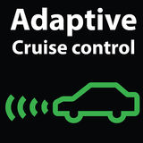 Adaptive cruise control warning dashboard light-icon. Car image illustration Stock Photos