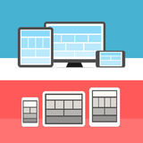 Adaptive design layouts. Web site page templates. Collection on different devices Stock Photography