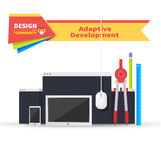 Adaptive Development Tablet and Paint Tools Stock Photo