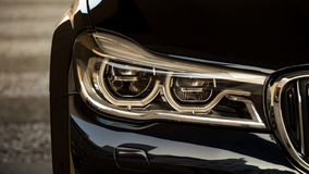 Adaptive LED Headlights. On Car, Close-up of left side royalty free stock photo