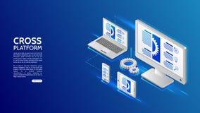 Adaptive responsive webdesign. Cross platform website development . Multiplatform web page concept for pc, laptop, tablet and smartphone stock illustration