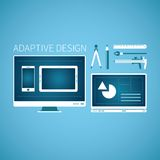 Adaptive web graphic design development vector concept in flat style Royalty Free Stock Images