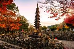 Adashino Nenbutsuji, Arashiyama. Adashino Nenbutsuji temple, Japan tower with autumn foliage color, Arashiyama, Kyoto Royalty Free Stock Image
