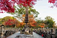 Adashino Nenbutsuji pagoda at autumn. Adashino Nenbutsuji pagoda with autumn foliage colorful trees in Arashiyama, Kyoto, Japan. Many stone Buddha statues around Stock Image