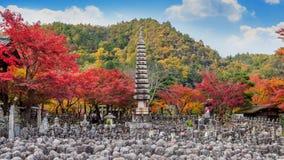 Adashinonenbutsuji temple in autumn, Kyoto in Japan.  Stock Photos