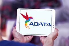 ADATA Technology company logo. Logo of ADATA Technology company on samsung tablet . ADATA is a Taiwanese memory and storage manufacturer Royalty Free Stock Image