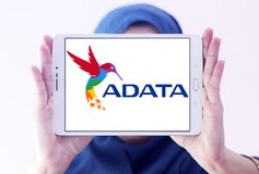 ADATA Technology company logo. Logo of ADATA Technology company on samsung tablet holded by arab muslim woman. ADATA is a Taiwanese memory and storage Royalty Free Stock Images