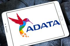 ADATA Technology company logo. Logo of ADATA Technology company on samsung tablet . ADATA is a Taiwanese memory and storage manufacturer Stock Photo