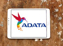 ADATA Technology company logo. Logo of ADATA Technology company on samsung tablet on wooden background. ADATA is a Taiwanese memory and storage manufacturer Royalty Free Stock Photography