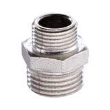 Adattatore dell'impianto idraulico su fondo bianco fotografie stock