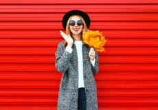 Adatti ad autunno la donna allegra con le foglie di acero gialle su rosso Fotografia Stock Libera da Diritti