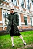 Adatti ad autunno la foto all'aperto di bella donna sexy con capelli ricci scuri che portano un cappotto e talloni e vetri di alt Immagini Stock Libere da Diritti