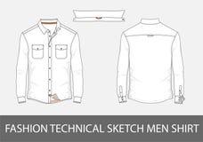 Adatti ad uomini tecnici di schizzo la camicia con le maniche lunghe nel vettore illustrazione vettoriale