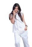 Adatti ad usura di donna i pantaloni bianchi e la camicia isolati sopra bianco immagine stock libera da diritti