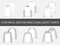 Adatti gli schizzi tecnici delle magliette lunghe della manica del ` s degli uomini illustrazione di stock