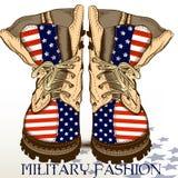 Adatti gli stivali disegnati a mano nello stile militare con la bandiera di U.S.A. Immagini Stock
