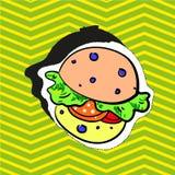 Adatti il caricatore del perno del distintivo della toppa con l'illustrazione di stile di Pop art dell'hamburger Fotografie Stock Libere da Diritti