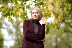 Adatti il ritratto di bella donna bionda in vestiti alla moda nel parco di autunno Fotografie Stock