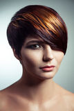 Adatti il ritratto di bella ragazza con capelli tinti colorati, coloritura di capelli professionale di scarsità fotografia stock
