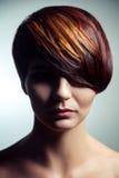 Adatti il ritratto di bella ragazza con capelli tinti colorati, coloritura di capelli professionale di scarsità fotografie stock
