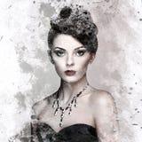 Adatti il ritratto di giovane bella donna con gioielli Immagini Stock Libere da Diritti