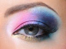 Adatti il trucco di un occhio femminile Fotografia Stock