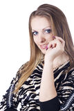 Adatti la donna con monili in mani sul whi Immagine Stock