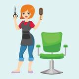 Adatti la donna del parrucchiere con la tosatrice e gli strumenti alla moda professionali del barbiere isolati spazzola per i cap Fotografie Stock