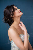 Adatti la foto di bella signora in vestito da sera elegante Fotografie Stock