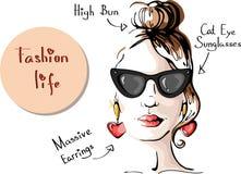 Adatti la ragazza in ritratto degli occhiali da sole - Vector l'illustrazione Fotografia Stock