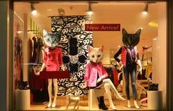 Adatti la vetrina con i manichini, la finestra di vendita del deposito, parte anteriore del boutique della finestra del negozio Immagini Stock
