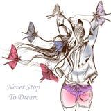 Adatti le farfalle dell'illustrazione di vettore e una ragazza dai capelli lunghi illustrazione di stock