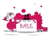 Adatti le ragazze nella campagna di vendita - vector il illustrati Fotografie Stock