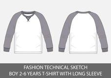 Adatti a schizzi tecnici per i ragazzi 2-6 anni di magliette con la manica lunga illustrazione di stock