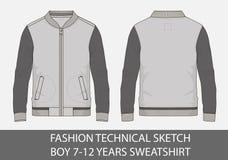 Adatti a schizzo tecnico per il ragazzo 7-12 anni di maglietta felpata royalty illustrazione gratis