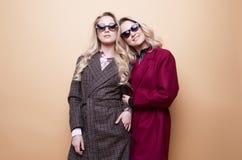 adatti un ritratto di due ragazze, posa dei migliori amici dell'interno sul cappotto alla moda d'uso dell'inverno del fondo beige immagini stock libere da diritti