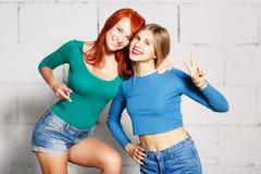 Adatti un ritratto di stile di vita di due giovani ragazze dei pantaloni a vita bassa Fotografia Stock