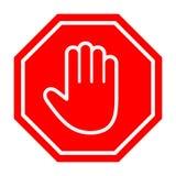 Adblock或红色停车牌象用手 库存图片
