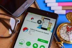 Adblock Browser for Anrdroid dev app on Smartphone screen. BEKASI, WEST JAVA, INDONESIA. SEPTEMBER 2, 2018 : Adblock Browser for Anrdroid dev app on Smartphone stock photography
