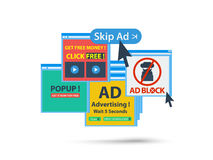 Adblock web popup banner concept. isolated vector Royalty Free Stock Photo
