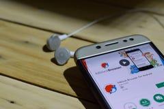 Adblock webbläsare för den Android bärare-applikationen på den Smartphone skärmen Royaltyfri Fotografi