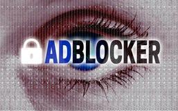 Adblocker-Auge betrachtet Zuschauerkonzept Lizenzfreie Stockfotografie