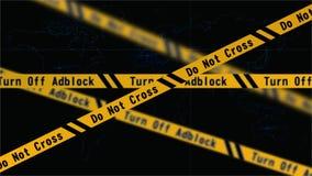 Adblockvoorzichtigheid | Kruis niet royalty-vrije stock afbeeldingen