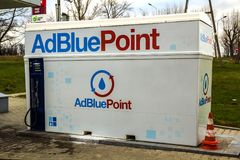 The AdBlue tank at the gas station on highway rest stop. AdBlue is a diesel exhaust cleaning fluid for trucks, cars and buses Royalty Free Stock Photos