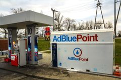 The AdBlue tank at the gas station on highway rest stop. AdBlue is a diesel exhaust cleaning fluid for trucks, cars and buses Stock Images