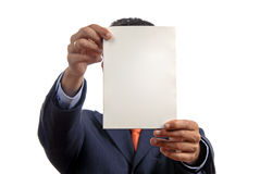 Add. Business man holding a card in his head Stock Photos
