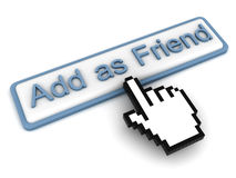 Add as Friend Button. With hand cursor stock illustration