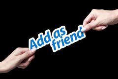 Add as friend icon. Hand giving add friend icon to another person Royalty Free Stock Image