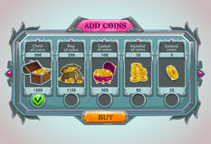 Add coins panel. Epic game asset with coins icons and buttons Stock Image